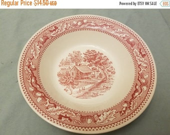 "Mid century Memory lane9"" Round vegetable bowl perfect shape Red/pink transferware"