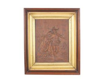 19th Century Bas Relief Wood Plaque Lohengrin & Princess Elsa Wagner Opera