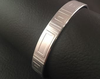 Embossed Bracelet, Cuff Bracelet, Designer Inspired Aluminum bracelet, Rectangles, Aluminum Cuff Bracelet, Hand Stamped Jewelry