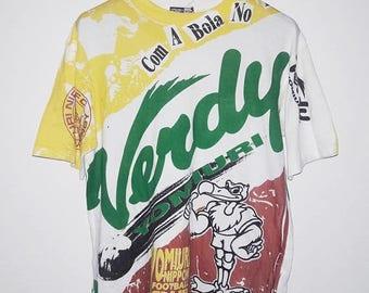 CLEARANCE SALE 35% Vintage FC Yomuiri Verdy Nippon Japan League J-League All Over Print T-Shirt Medium
