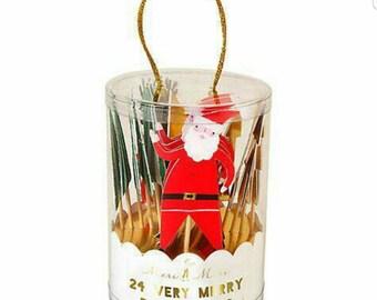 Meri Meri Christmas party picks. Christmas cupcake topper. Christmas party decor. Christmas tableware. Christmas party. Santa toppers