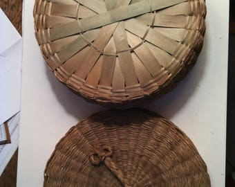 Passamaquoddy Native American sweetgrass sewing basket