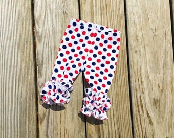 Patriotic dots double ruffle leggings, american flag girls ruffle leggings, todfler Memorial Day outfit, newborn red blue white outfit,