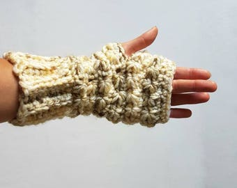 Knit Fingerless Gloves, Handknit Gloves, Chunky Knit Gloves, Hand Warmers, Winter Gloves - MADE TO ORDER