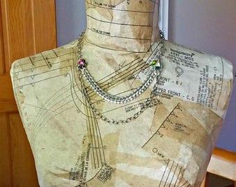Summer Sale art deco rhinestone necklace, two strand, silver, upcycled chandelier crystals, repurposed vintage, aurora borealis, kaleidoscop