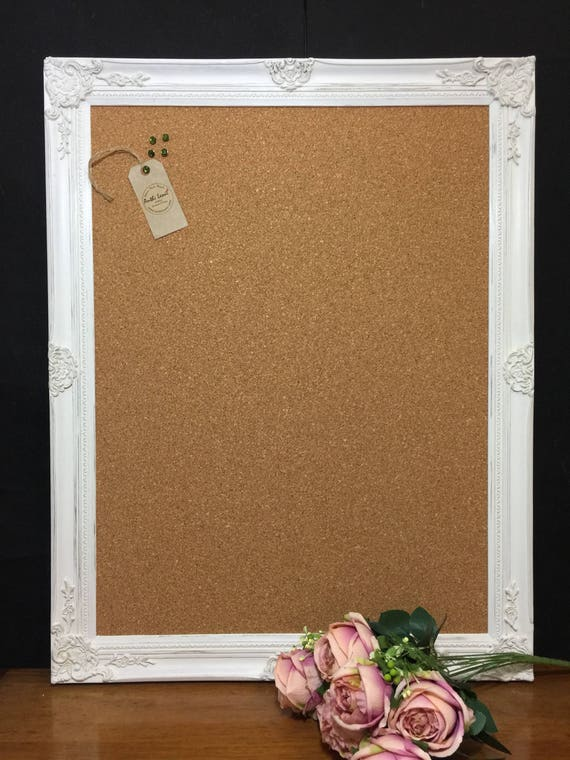 Shabby Chic Style VISION BOARD - Extra Large Pin Board | Ornate Corkboard / Shabby Chic Notice Board | Framed Message Board | Wedding Sign