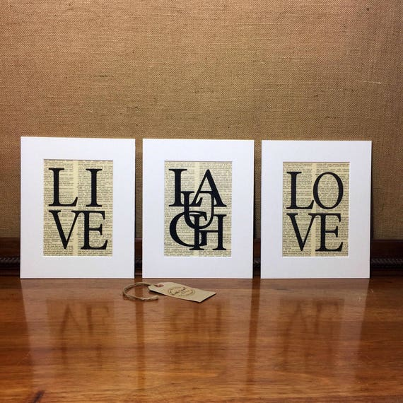 LIVE LAUGH LOVE Dictionary Print Set / Set of 3 Mounted Word Art Prints / 10x12 Inspirational Words Typography Set / Love Quote / Life Quote