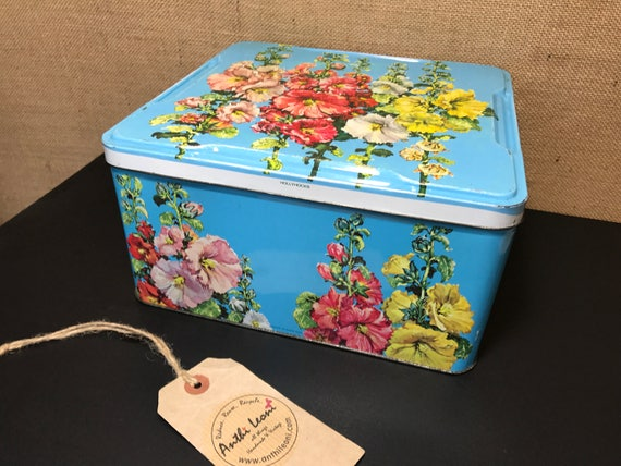 Vintage Blue Collectable Biscuit Tin | Old English Tin with Hollyhocks| 1950s 60s Collectible Retro Container | Square Metal Biscuit Tin