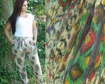Vintage 80s Colorful Printed Pants, Elastic Waist Pants, Multicolored Pants, Printed Pants, Retro Pants, Summer Pants, Medium Pants