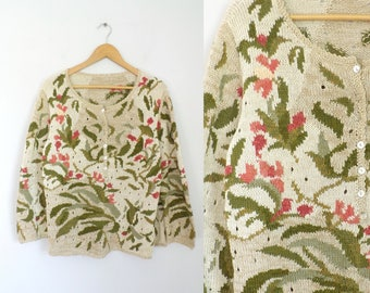 80s Floral Eyelet Sweater Cotton & Linen Iris Flower Pattern Sweater Mother of Pearl Buttons Crew Neck Pullover 1980s Womens Jumper large