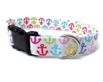 Anchors Dog collar, Nautical dog collar, colorful anchor dog collar, preppy dog collar, vineyard vines, grey dog collar, small dog collar
