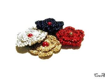 Crochet flower appliques for Christmas, Lurex flowers, Applicazioni fiori per Natale