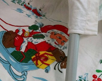 Santa Claus Christmas Vintage Curtain Panel