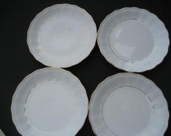 "4 Walbrzych Empire !0"" Dinner Plates-Poland White"