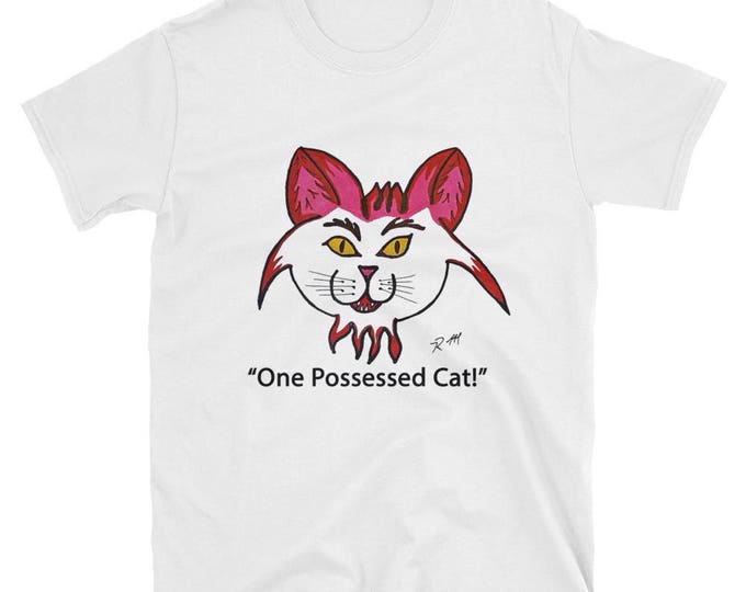Pink White Cotton Tee Shirt One Possessed Cat Cute Funny Radmadman Designs Unisex Short Sleeve T Shirt