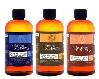Colloidal Silver, Colloidal Gold, And Colloidal Copper BUNDLE 60PPM 8.5oz Each
