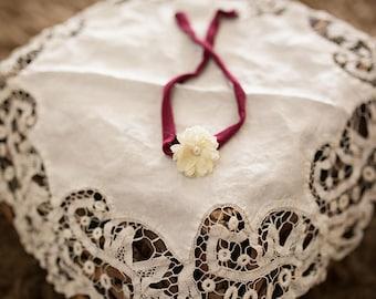 Cream & Burgundy Tieback | Newborn Tieback