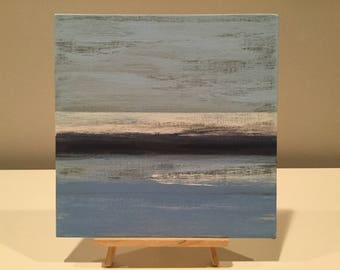 Blue abstract art, modern beach art, small blue abstract, blue painting, nature inspired art, nautical art, water artwork