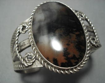 Early 1900's Vintage Navajo Petrified Wood Sterling Silver Bracelet