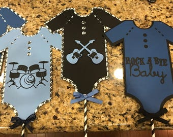 Rock a bye baby onesie baby shower centerpieces , drums , guitars , sold single