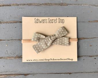 baby girl headband, hand tied bow, baby girl bow, nylon headband, baby headband, baby hair bow, tan headband, infant headband, baby bow