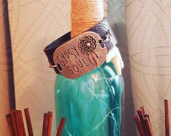 Gypsy soul black leather cuff bracelet