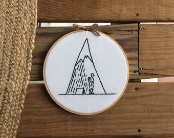 Mountain Embroidery Hoop Wall Hang