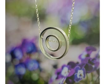 Sterling Silver Double Circle Pendant Necklace