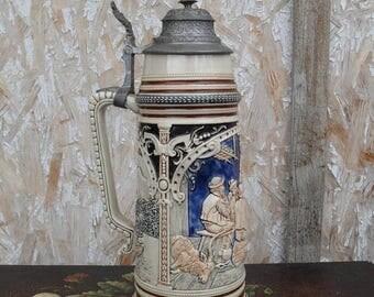 ON SALE German Stein, Thewalt Stein, Hand Painted Stein, Vintage German Stein