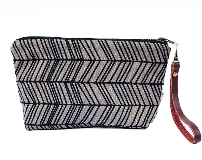New!  Herringbone Waxed Canvas Clutch Wristlet with Leather Strap
