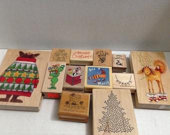 Vintage Rubber stamp grab bag - Christmas #5
