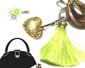 Lime Tassel Key Ring, Copper Bag Charm, Heart Dangle, Variety Key Ring, On Trend Gift, Stylish Gift, Teacher Xmas Gift, Free Local Shipping
