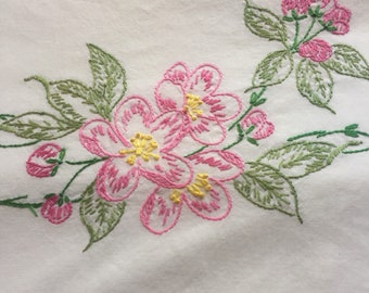 Vintage pillowcase with embroidery-flowers pink