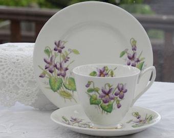1950's Royal Albert, Violet Tea Cup Trio, Flower of the Month Series, FEBRUARY, Royal Albert Teacup Trio,
