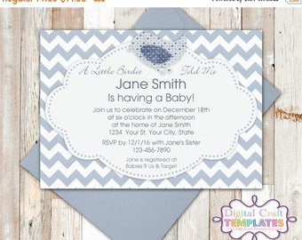SALE Personalized Printable Invitations | Little Birdie Told Me | Baby Shower | Birth Announcement |  #3