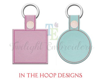 Set of 2 BLANK Key Fob Machine Embroidery Designs, Snap Tab, In The Hoop, ITH 0024