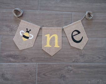 Bee One Banner, Bee Party Sign, First Bee Day, Bee High Chair Highchair Banner, Bumble Bee Party, One Banner, One Birthday Banner Décor