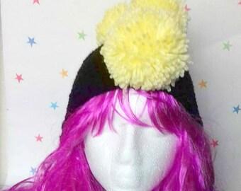 Kids Winter Hat, Pom Pom Mohawk, Ear-flap kids hat, punk Crochet hat, Boys hat, girls hat, youth hat, children's beanie, Pomahawk skull cap