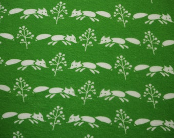 Myllymuksut terry cloth / stretch frotte fox print childrens fabric - Finnish design Scandinavian