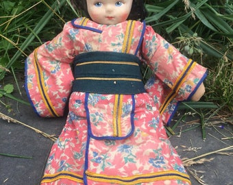 Original 1930s Lenci-type Geisha doll cloth doll rag doll original - Approx  12 inches Tall
