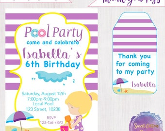 Pool Party/ Girl Birthday/Girl Pool Party