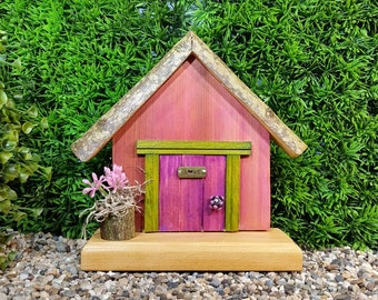 Purple Fairy Door with Brass Love Detail and Fairy Planter