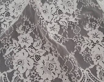 Ivory lace fabric by the yard, French Lace, Embroidered eyelash lace,Bridal lace,White Lace,Veil lace, Lingerie Lace Chantilly Lace