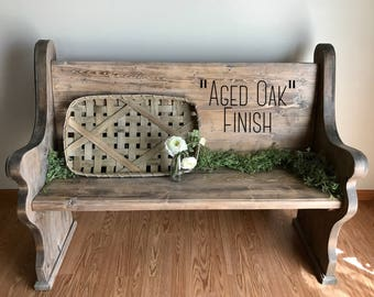 """SHIPPING INCLUDED!  Wooden Church Pew: Traditional Style; """"Aged Oak"""" finish.  Perfect for an entryway, foyer, or alternate dining seating"""