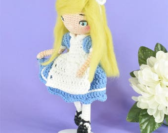 Alice, Alice in Wonderland, Alice doll, amigurumi doll, crocheted doll, Wonderland Alice, cute doll, stuffed doll, ooak doll, amigurumi