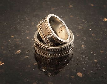 sterling silver ring with patina wedding bands steampunk - Steampunk Wedding Rings