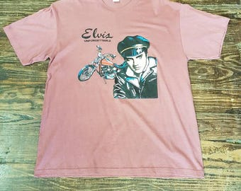 "Vintage Mauve Elvis ""Unforgettable""/Motorcycle T-shirt"