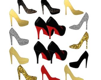 Shoes Clipart, Sparkle Clipart, High Heel Clipart, Wedding Clipart, Red Shoes Clipart, Gold High Heels, Party Clipart