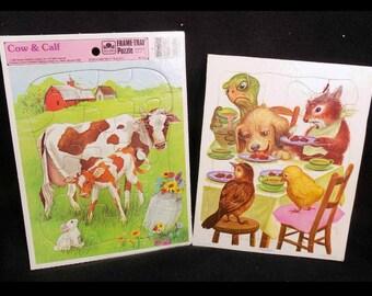 Vintage Playskool Puzzles, Golden puzzles - farm Animal puzzle -Vintage jigsaw puzzle -  tray puzzle,  1980's, 80's  puzzles- # 41