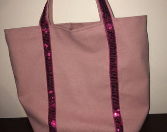 Vanessa Bruno-inspired tote bag light pink and Fuchsia pink sequin trim